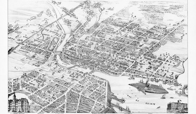 Bird's Eye View of Belleville 1874