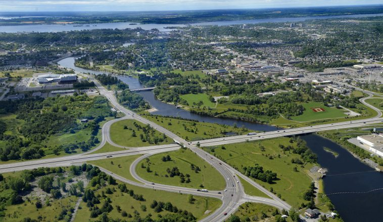 An aerial view of Belleville looking south from the 401