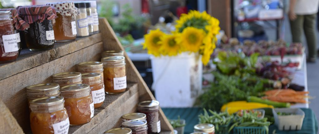 Jams and fresh produce at the Farmers Market